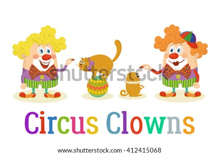 Circus Clowns with Trained Animals - stock vector