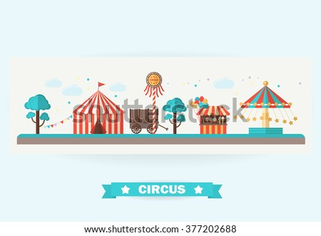 Circus collection with carnival . Vector illustration