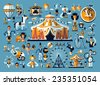 Circus. Colored icons collection - stock vector