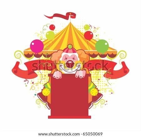 Circus composition with the kind clown - stock vector