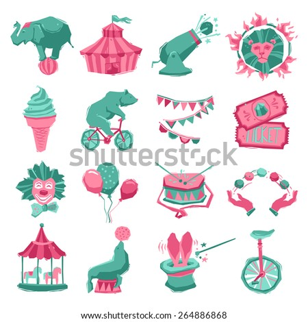 Circus decorative icon set with carnival tent animals clown and juggler isolated vector illustration