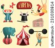Circus decorative set with tent clown magic hat isolated vector illustration - stock