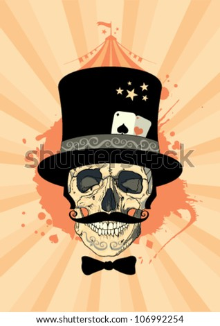 Circus design template with magician skull. - stock vector