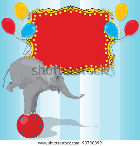 Circus Elephant Birthday Party Invitation Card  with Red Marquee and balloons. Plenty of room for your information