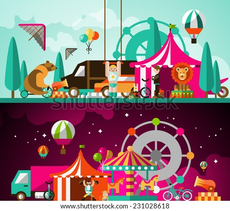 Circus entertainment attractions day and night performances background vector illustration - stock vector