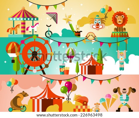 Circus entertainment attractions performances background with jugglers athletes animals vector illustration - stock vector