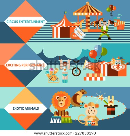 Circus entertainment flat banner set with exotic animals exciting performance isolated vector illustration. - stock vector