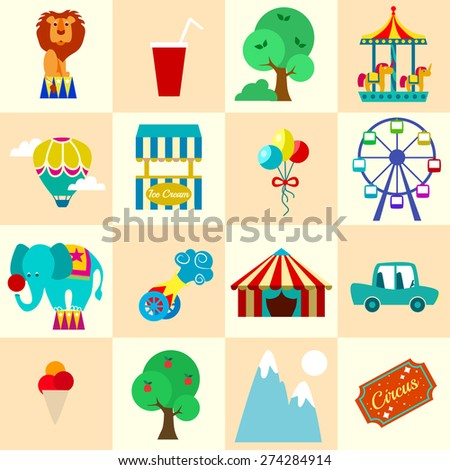 Circus entertainment paper stickers set with tickets lion elephant attractions icecream isolated vector illustration - stock vector