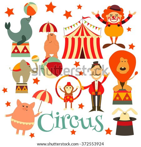 Circus Entertainment Symbols Icons Set. Cartoon Style. Circus Animals and Characters. Vector Illustration. - stock vector