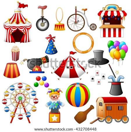 Circus equipment collection set - stock vector
