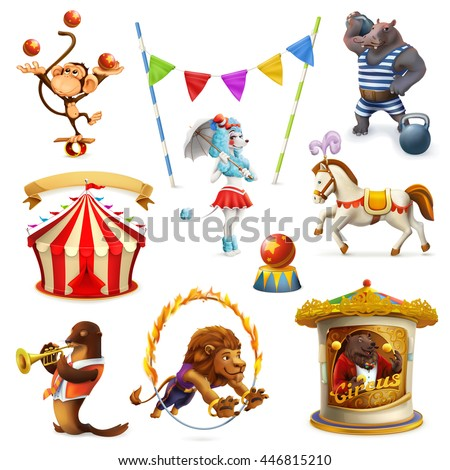 Circus, funny animals, set of vector icons, mesh - stock vector