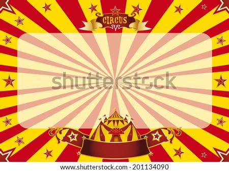 Circus horizontal red and yellow. a circus vintage poster for your advertising. Horizontal background ideal for a screen