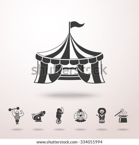 CIRCUS icon with shadow, and icons - clown, cannon, bear, lion, magician hat, strongman. Vector - stock vector