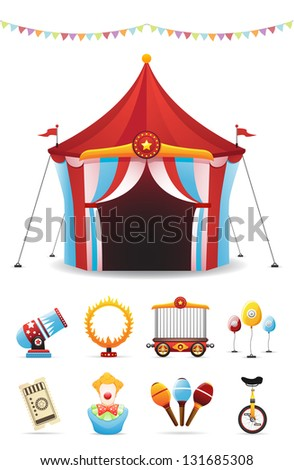 Circus Icons Set - stock vector