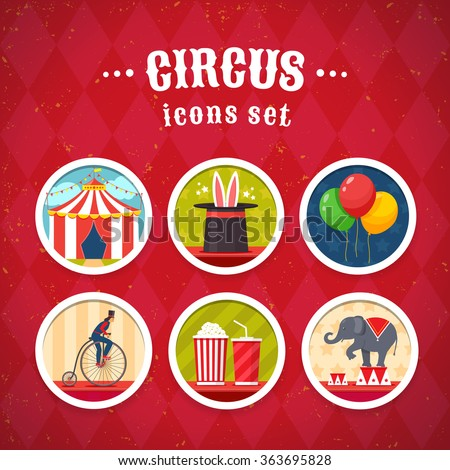 Circus icons set. Flat style design. Vector illustration.