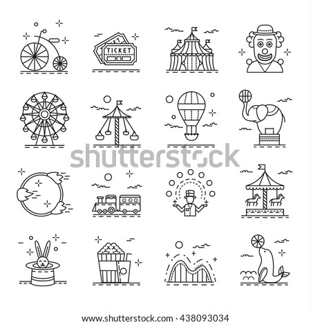 Circus icons set in linear style. Amusement park design elements collection, vector illustration. With circus clown, children train, carousel, circus juggler  - stock vector