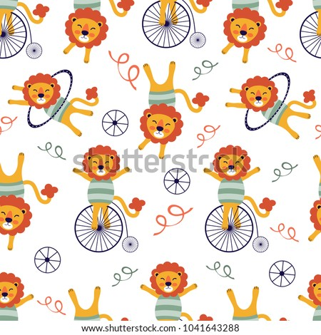 Circus lions seamless pattern