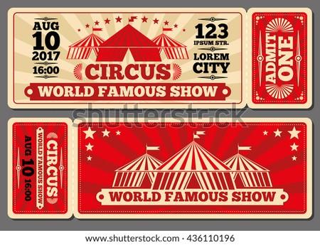 Circus Magic Show Entrance Vector Tickets Vector 436110196 – Show Ticket Template