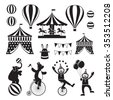Circus Objects Icons Mono Set, Amusement Park, Carnival, Fun Fair - stock photo