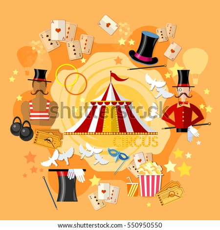 Circus performance, circus show. Magician, strongman, magic tricks vector illustration