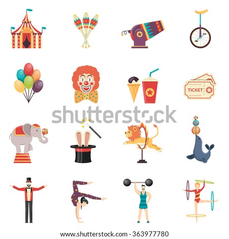 Circus performance flat color icons set with clown balloons tent acrobat and trained animals isolated vector illustration - stock vector