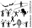 Circus Performers Acrobat Stunt Animal People Man Stick Figure Pictogram Icon - stock photo