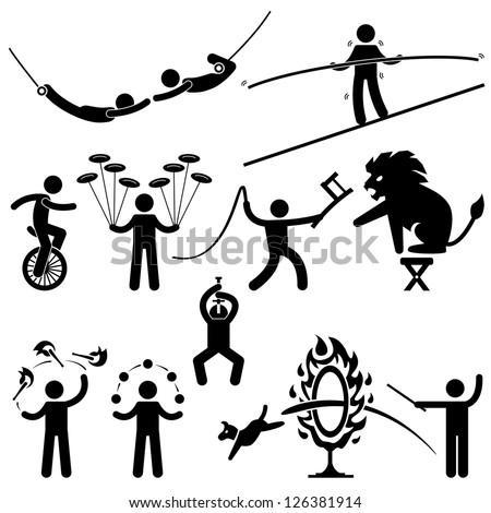 Circus Performers Acrobat Stunt Animal People Man Stick Figure Pictogram Icon - stock vector