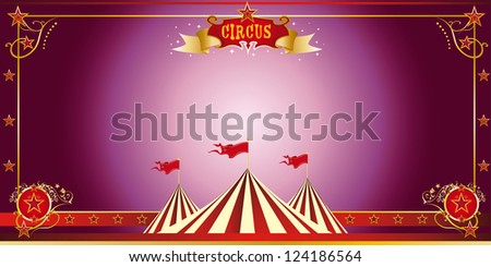 Circus purple invitation. An invitation card for your circus company.