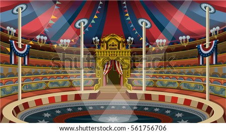 Circus ring carnival tent big top acrobat trapeze marquee. Amusement family theme park circus banner & Circus Ring Carnival Tent Big Top Stock Vector 561756706 ...