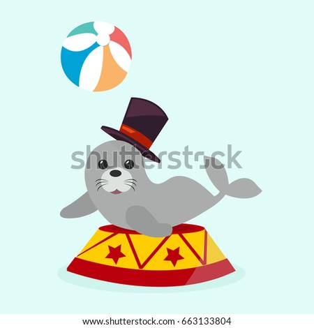 circus sea with ball illustration