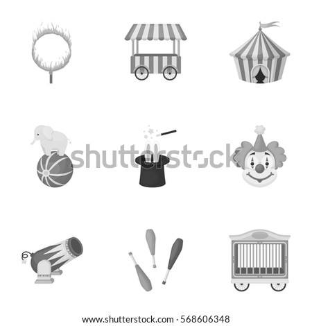 Circus set icons in monochrome style. Big collection of circus vector symbol stock illustration