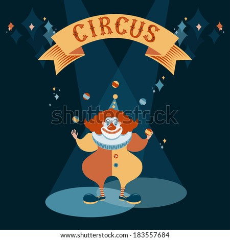 Circus show illustration. Red clown juggling balls