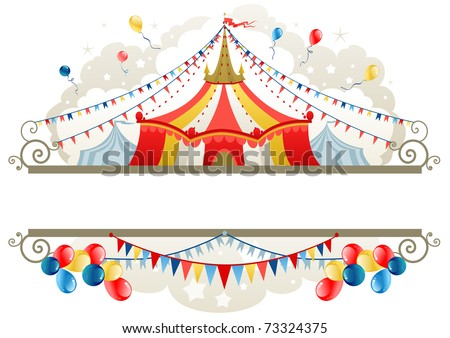 Circus tent frame with space for text - stock vector