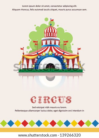Circus tent frame with space for text. Decoration vector illustration. - stock vector