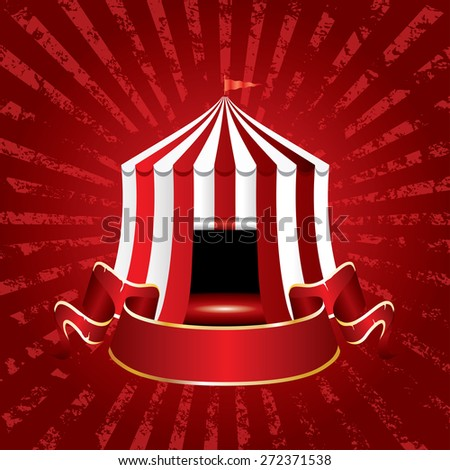 circus tent icon with blank banner on grunge burst background - stock vector