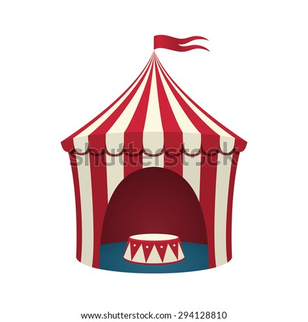 Circus tent, isolated on white background. - stock vector