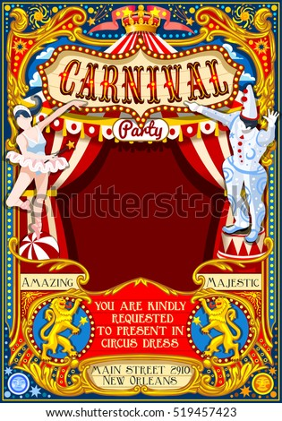 Circus juggler show Retro Template design. Cartoon Poster Invite Kids game Birthday Party Insight Carnival festival Background Juggling Acrobatic Cabaret Vintage vector background. Acrobat Clown theme