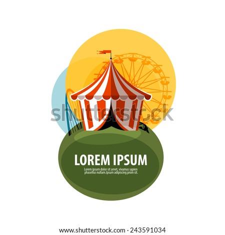 circus tent vector logo design template. attractions or carnival icon. - stock vector