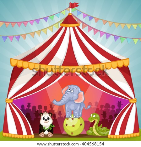 Circus tent with animals - stock vector