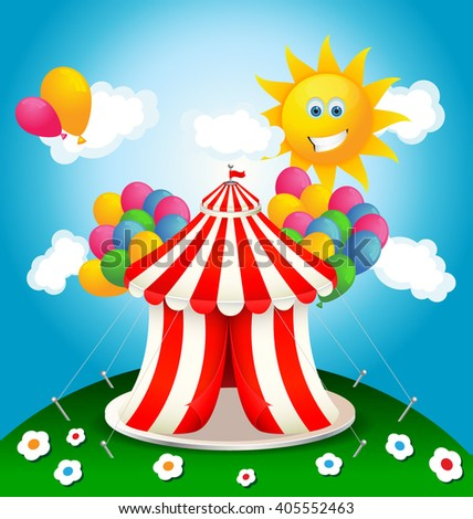 Circus tent with balloons on a sunny day