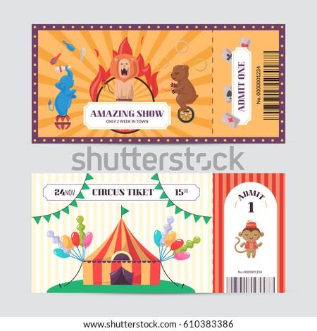 Circus Ticket Design Template Amazing Show Stock Vector 610383386 ...