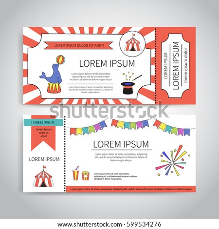 Circus Tickets Design Magic Show Trained Stock Vector 599534276