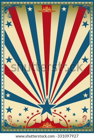 circus vintage red blue poster. A vintage red circus poster with sunbeams for your show