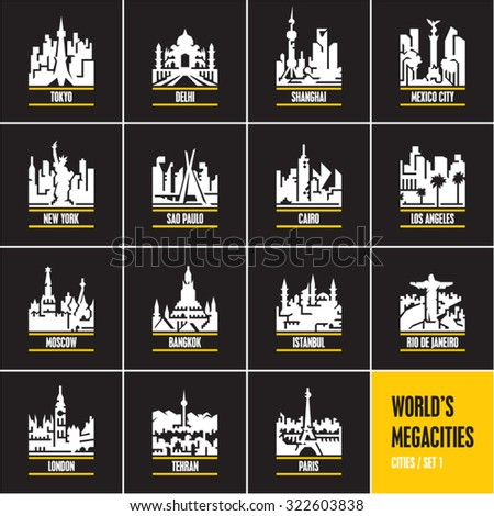 cities at night, cityscape, city skyline, city silhouette, cities vector icons set, megacities, - stock vector