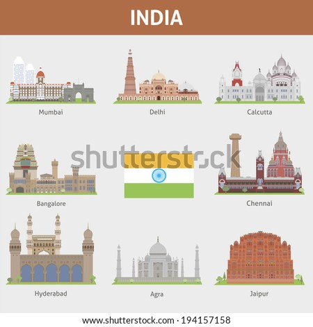 Cities of India - stock vector