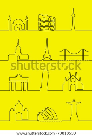 cities of the world 1 - stock vector