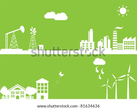 Cities using clean alternative energy sources - stock vector
