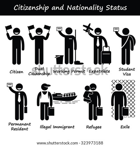 Citizenship and Nationality Pictogram - stock vector