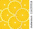 Citrus background with slices of orange. Vector stylized background. - stock vector