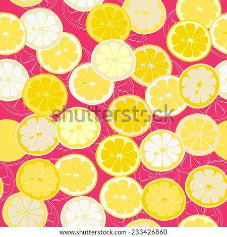 Citrus Cheerful seamless pattern. Vector background. Use for textiles, pillow & interior decoration, wallpaper, web page background, surface textures, wrapping paper, food & cosmetics labeling. - stock vector